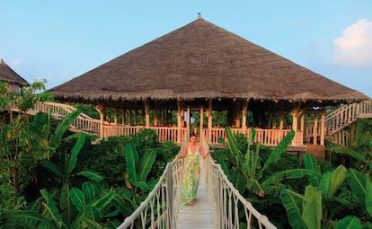 Soneva Fushi Maldives restaurant entrance among nature