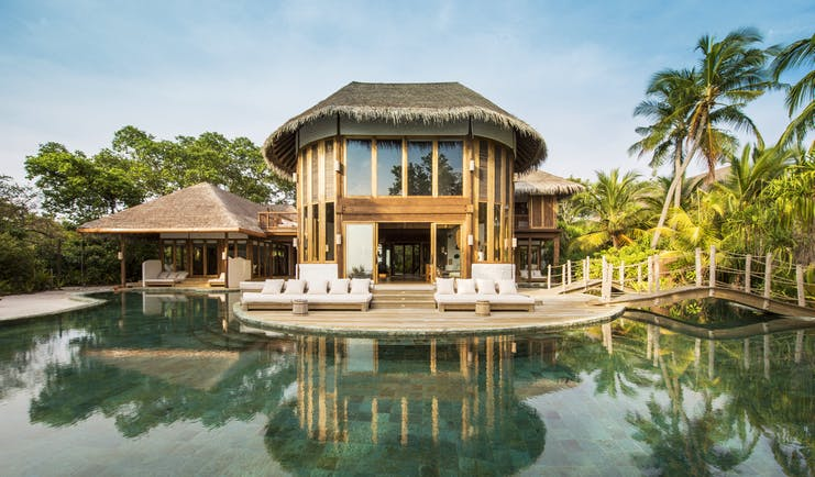 Soneva Fushi Maldives villa exterior private pool outdoor seating area