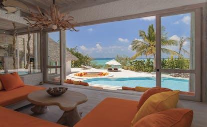 Soneva Fushi Maldives villa lounge modern décor access to private pool ocean views
