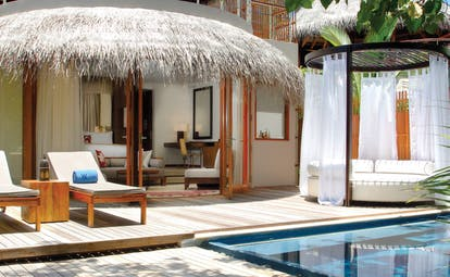 W Retreat Maldives beach oasis terrace private plunge pool cabana sun loungers