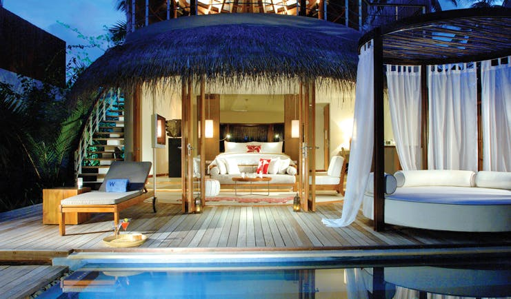 W Retreat Maldives beach oasis guest villa bed private terrace private pool