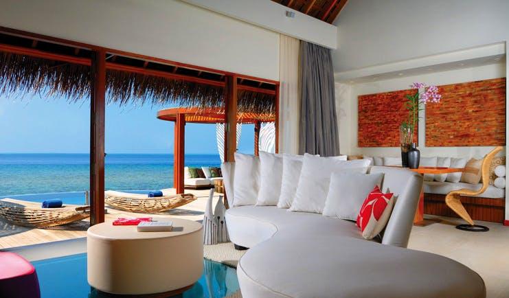 W Retreat Maldives ocean escape interior sofa modern décor private terrace overlooking sea