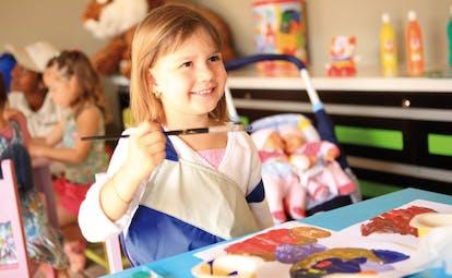 Anahita Mauritius kids' club painting girl painting toys