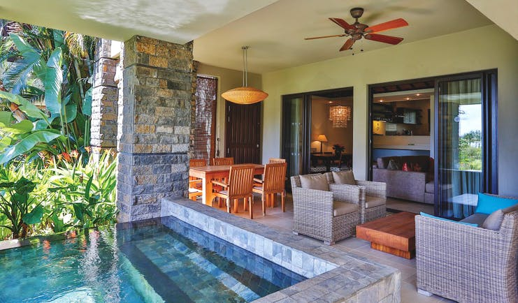 Anahita Mauritius prestige suite terrace outdoor seating private plunge pool