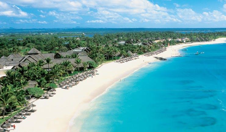 Constance Belle Mare Plage Mauritius aerial view of resort villas beach sea