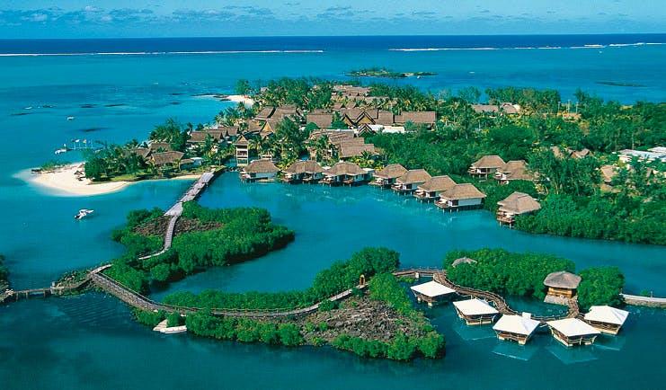 Constance Le Prince Maurice Mauritius aerial shot of island villas ocean