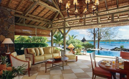 Constance Le Prince Maurice Mauritius private pool terrace seating area overlooking ocean