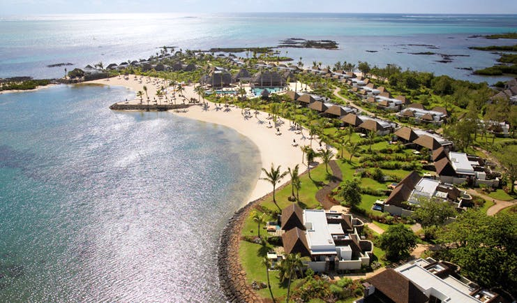 Four Seasons Mauritius aerial view bungalows palm trees lawns beach ocean view