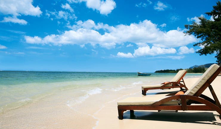 Heritage Awali Mauritius beach loungers white sand