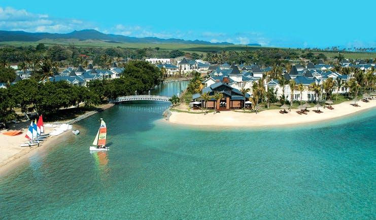 Le Telfair Mauritius sea leading to river through ocean beaches