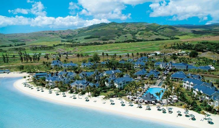 Le Telfair Mauritius aerial view of resort palm trees beach
