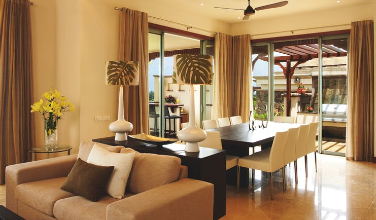 Heritage the Villas Mauritius villa living room sofa dining table modern décor