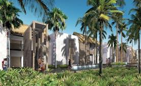 Long Beach Mauritius pool terraces palm trees greenery