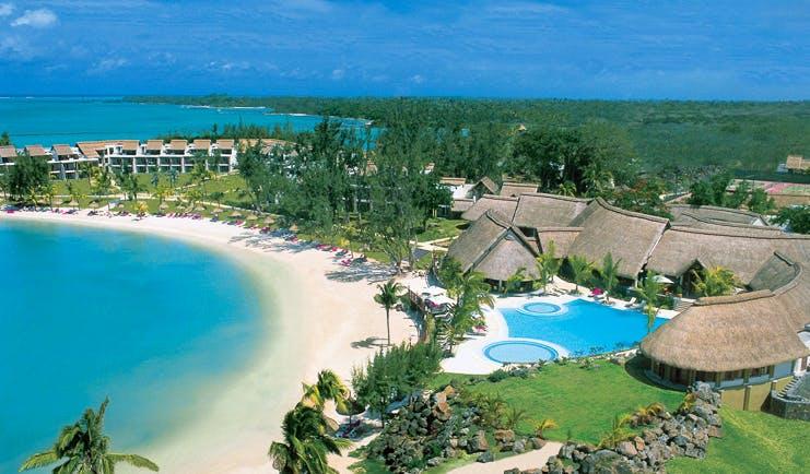 Lux Grand Gaube Mauritius aerial shot of resort hotel buildings pool beach sea