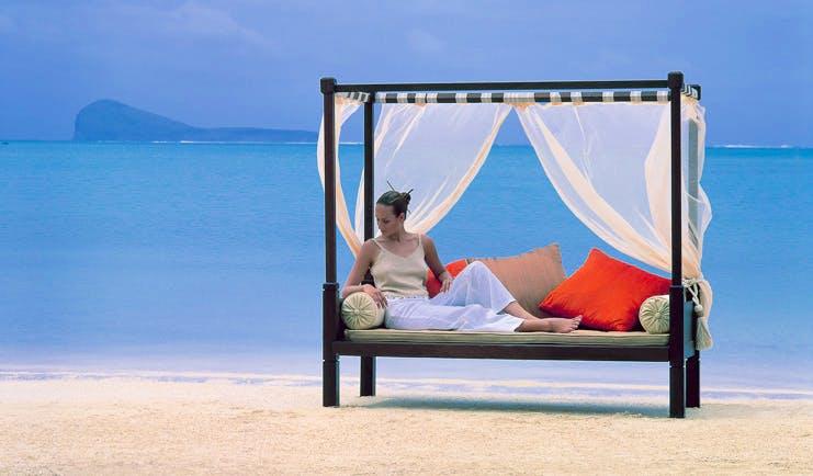 Lux Grand Gaube Mauritius beach seating lounger on beach white sand clear blue sea