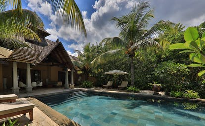 Presidential suite pool villa with palm trees nearby