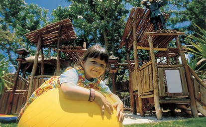 Shangri La Le Touessrok Mauritius childrens play area wooden play set