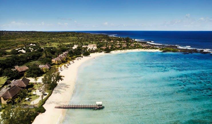 Shanti Maurice Mauritius aerial view bungalows gardens beach ocean jetty