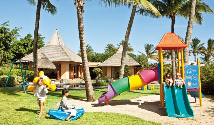 Shanti Maurice Mauritius childrens play area slide swing set bungalows coconut trees