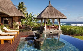 Shanti Maurice Mauritius private pool decking area loungers covered pagoda ocean view