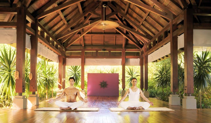 Shanti Maurice Mauritius spa yoga covered outdoor pavilion greenery