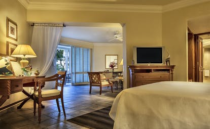 Garden view junior suite with double bed, television and lounge area