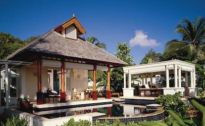 Banyan Tree Seychelles beachfront villa outdoor lounge private pool private spa pavilion