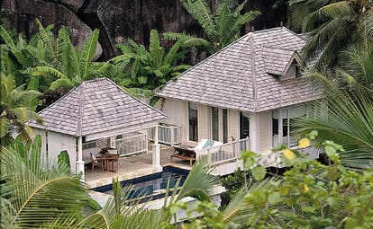 Banyan Tree Seychelles hillside pool villa aerial bungalows in the forest