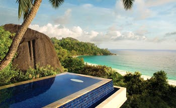 Banyan Tree Seychelles intendance pool overlooking forest and beach
