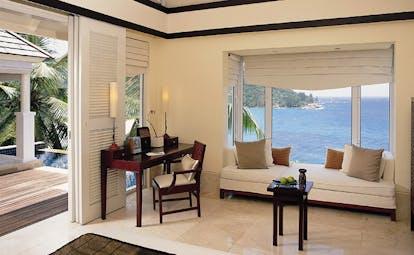 Banyan Tree Seychelles intendance villa lounge window seating area ocean view