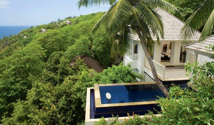 Banyan Tree Seychelles intendance villa aerial view private pool white villa