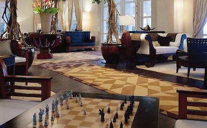 Banyan Tree Seychelles lobby lounge chess boards sofas