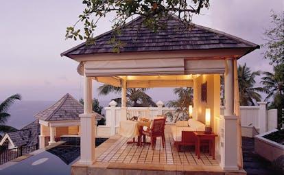 Banyan Tree Seychelles outdoor lounge pavilion lounge area