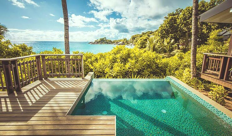 Carana Beach Hotel villa private plunge pool and terrace, views over tropical greenery and out to sea