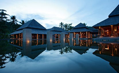 Constance Ephelia Resort Seychelles main building outdoor modern style building pool reflections