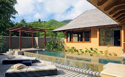 Constance Ephelia Resort Seychelles spa villa outdoor infinity pool loungers pergola