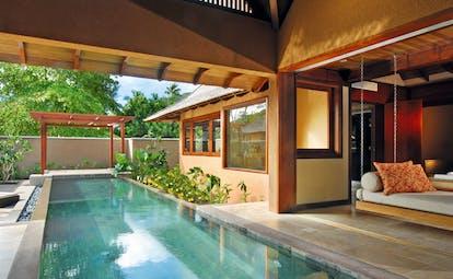 Constance Ephelia Resort Seychelles spa villa pool hanging sofa pergola loungers