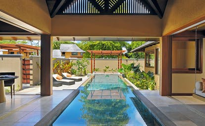 Constance Ephelia Resort Seychelles spa villa two patio areas hanging sofa infinity pool loungers