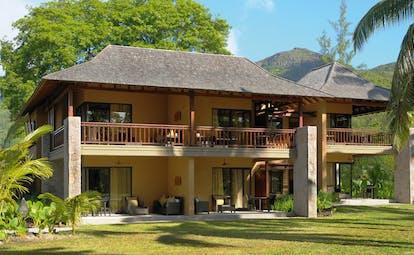 Constance Ephelia Resort Seychelles villa exterior building with large balcony and patio areas