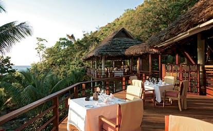 Constance Lemuria Seychelles Legend restaurant dining deck ocean view