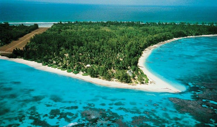 Denis Island Seychelles island aerial view forests runway
