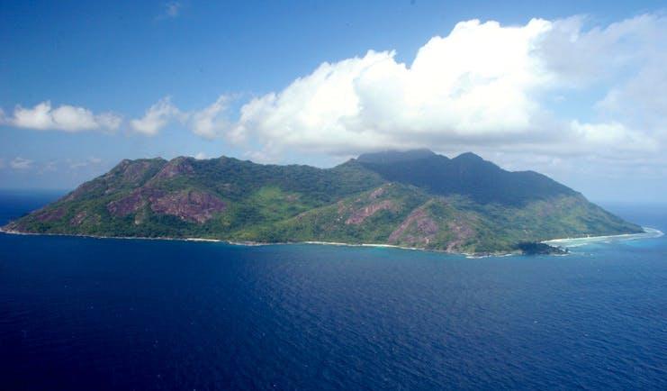 Hilton Labriz Seychelles island aerial view of mountainous island
