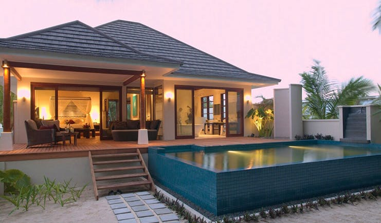 Hilton Labriz Seychelles villa exterior decked seating area private pool