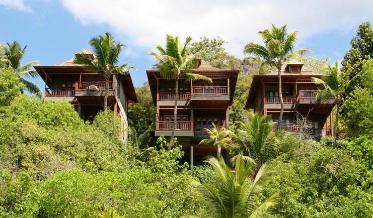 Hilton Northolme Seychelles ocean view villas wooden buildings on stilts tropical forests