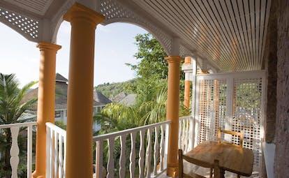 Domaine de la Reserve Seychelles balcony ocean and forest view
