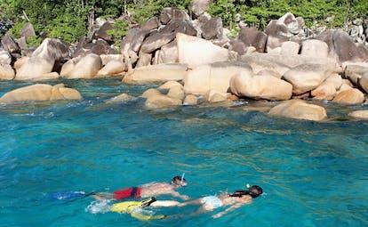 Domaine de la Reserve Seychelles snorkelling rocks and forest