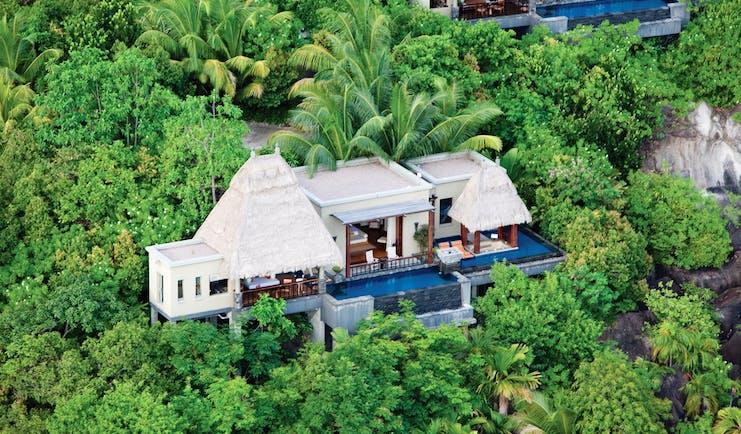 Maia Seychelles villa exterior aerial shot private pool terrace treetop surrounds
