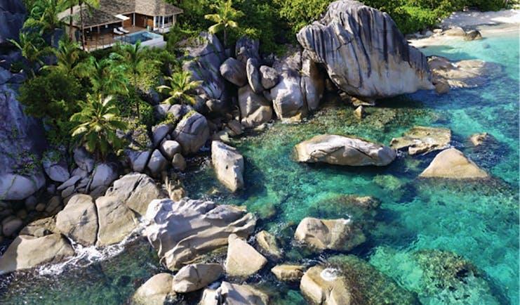 Six Senses Zil Pasyon villa exterior, priavte pool, private terrace, villa nestled on cliffside