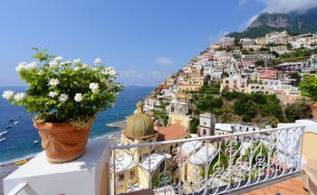 White flowers in terracotta pot on balcony overlooking houses below in Positano