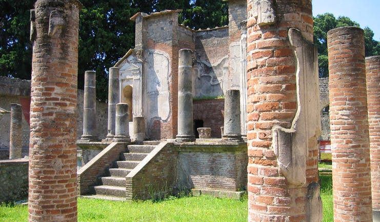 Brick columns of remains of temple of Isis in Roman Pompeii